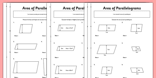 Area of Parallelograms Worksheet / Worksheet Pack - parallelogram ...