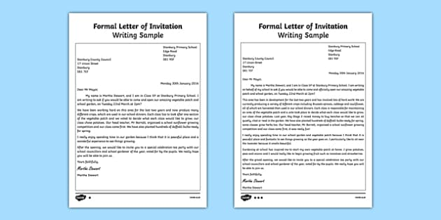 Formal letter of invitation writing sample stopboris