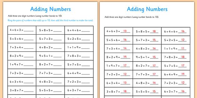 Miss Giraffe's Class: Adding 3 Numbers