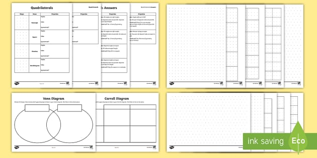 Year 4 Sorting Quadrilaterals Maths Resource Pack Compare and – Classifying Quadrilaterals Worksheet