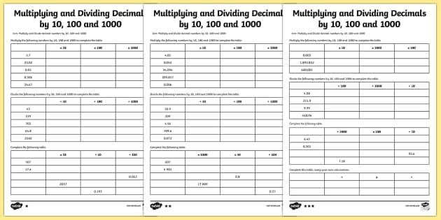 multiplying and dividing decimals by 10 100 1000 worksheet. Black Bedroom Furniture Sets. Home Design Ideas