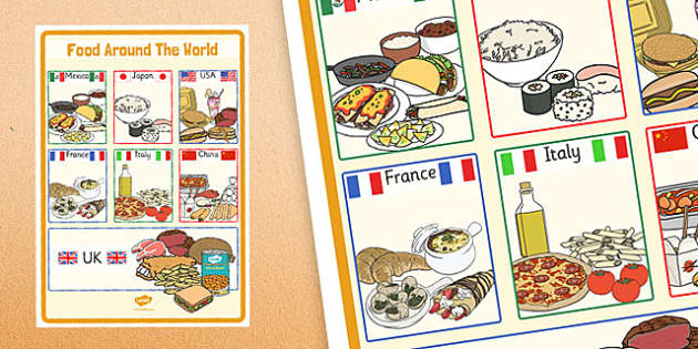 Large Foods Around the World Poster - large, food, around the