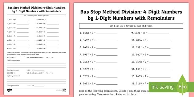 bus stop method formal division of 4 digit numbers with remainders worksheet. Black Bedroom Furniture Sets. Home Design Ideas