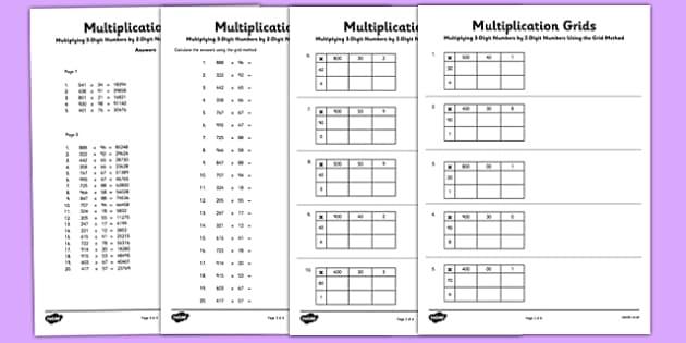 multiplication grid template