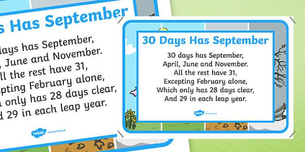 30 Days Has September Nursery Rhyme Poster - 30 days has