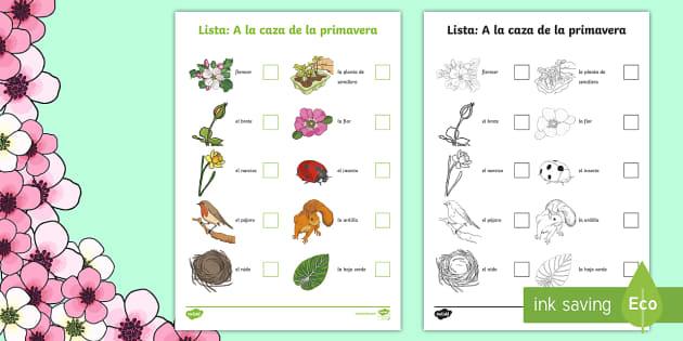spring hunt checklist spanish spring ks2 spanish mfl checklist hunt. Black Bedroom Furniture Sets. Home Design Ideas