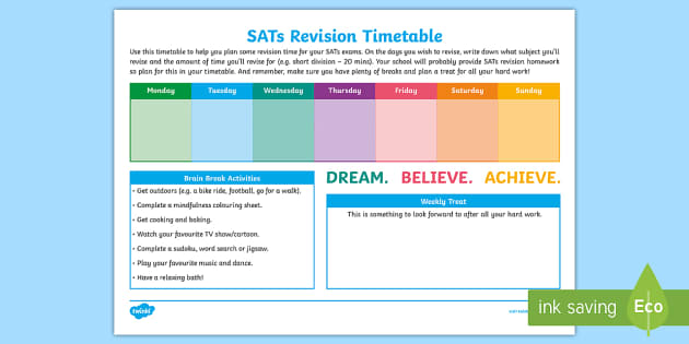 weekly sats revision timetable rh twinkl co uk