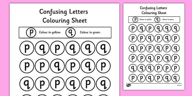 Free Confusing Letters Colouring Worksheets P And Q