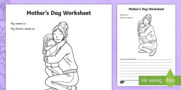 mother 39 s day worksheet worksheets worksheet work sheet mothers day. Black Bedroom Furniture Sets. Home Design Ideas