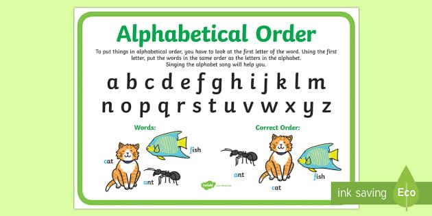 alphabetical order display poster-australia
