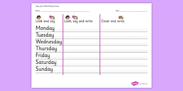 Days Of The Week Writing Practice Worksheet