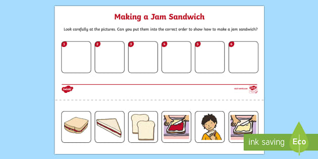 jam sandwich sequencing worksheet activity sheet eyfs early. Black Bedroom Furniture Sets. Home Design Ideas
