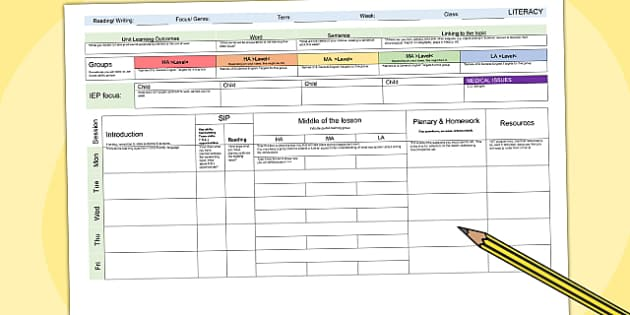 Teacher Organisation Planning Templates Primary