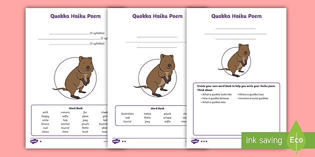 tas new quokka haiku poem differentiated worksheets. Black Bedroom Furniture Sets. Home Design Ideas
