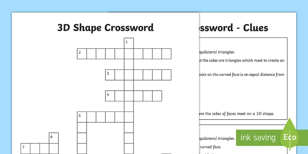 3d shape crossword worksheet activity sheet cube ccuart Choice Image
