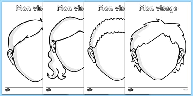 Mon visage Blank Faces Templates French - french, face