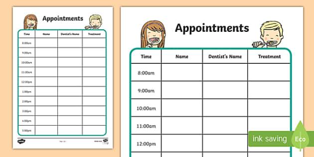 Dentists/Dental Surgery Appointment Sheet - Dentists/Dental