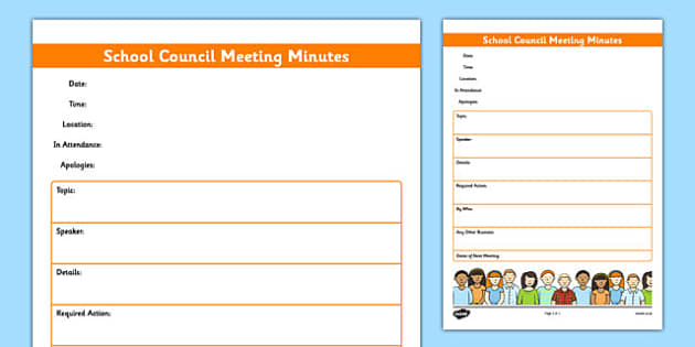 School Council Meeting Minutes Template - school council