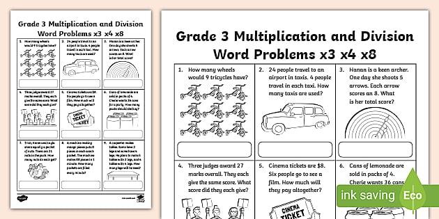 Division And Multiplication Worksheet Grade 3 Math