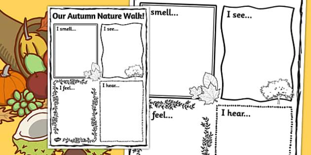 Our Autumn Nature Walk Writing Frame Autumn Nature Walk
