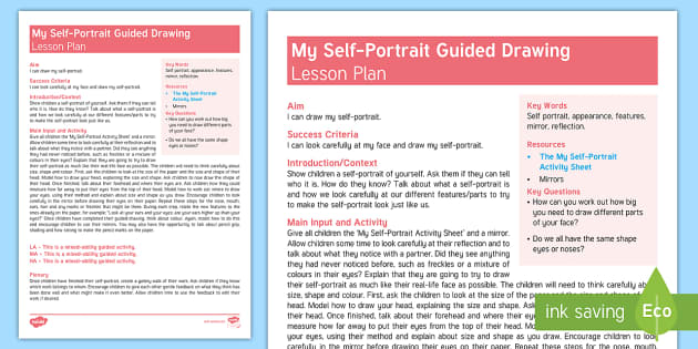 My Self Portrait Guided Drawing Lesson Plan Back To School All