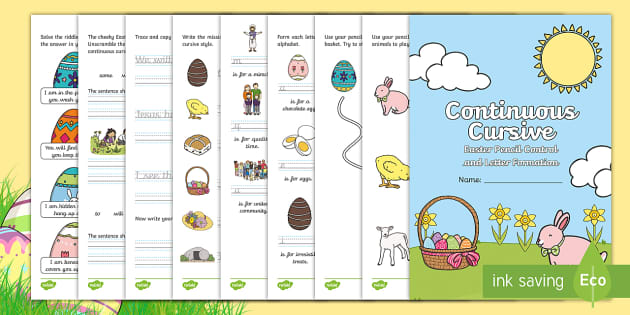 easter pencil control continuous cursive letter formation handwriting. Black Bedroom Furniture Sets. Home Design Ideas