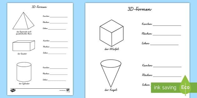 Eigenschaften von 3D-Formen Arbeitsblätter - Mathe, Geometrie