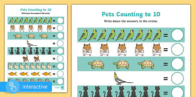 Pets Number Counting Worksheets 1-10 Primary Resource
