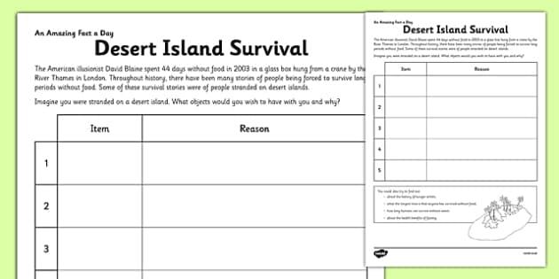 Desert Island Survival Worksheet Activity Sheet Desert