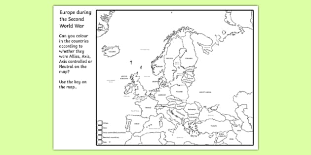 second world war colouring map