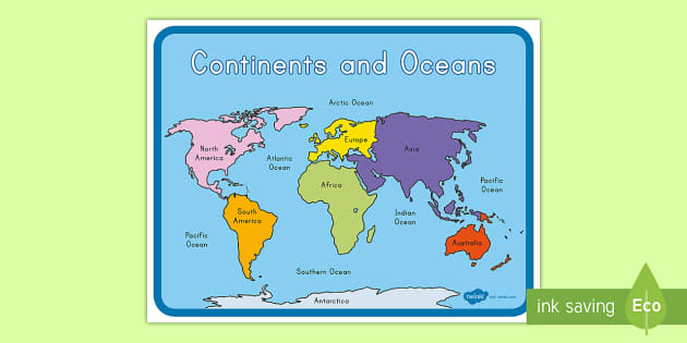 map with continents and oceans Continents And Oceans Map Teacher Made map with continents and oceans