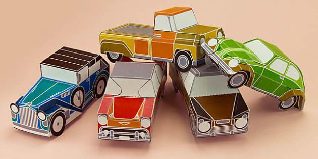 enkl vintage car paper model printables enkl arts crafts activity. Black Bedroom Furniture Sets. Home Design Ideas