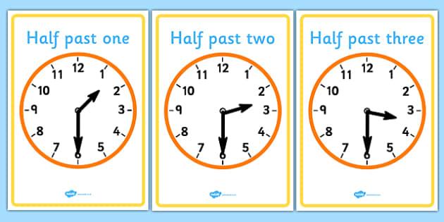 analogue clocks half past time resource time vocabulary. Black Bedroom Furniture Sets. Home Design Ideas