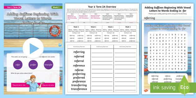 Year 6 Term 2A Week 2 Spelling Pack - Spelling Lists, Word