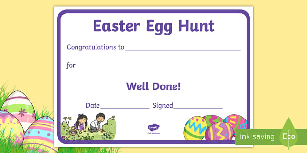 Easter egg hunt reward certificate certificate reward well maxwellsz