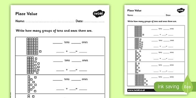 Place Value Worksheet  Place Value Number Worksheet  Activity