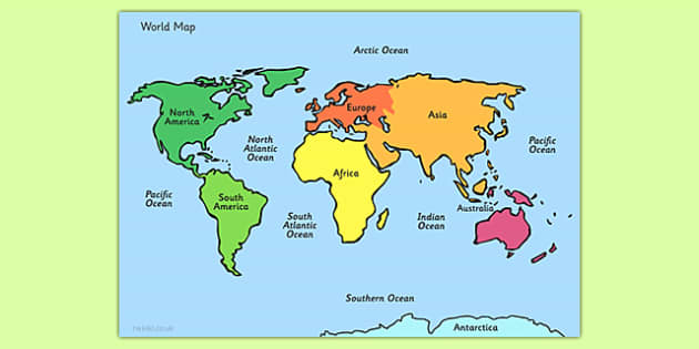 World Map With Names ESL Map Of The World - World map with names of continents and oceans