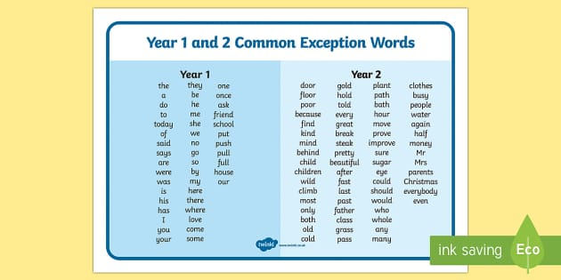 Common Exception Words Years 1 And 2 Word Mat Common