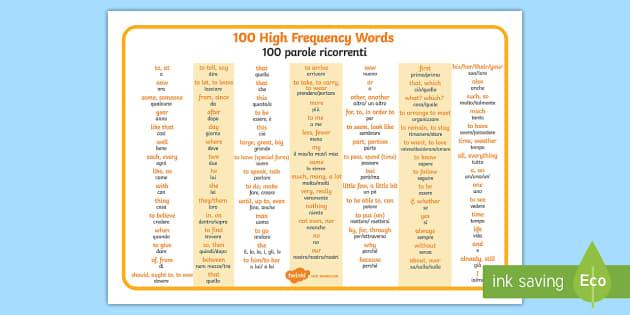 Italian Language Translation To English: 100 High Frequency Words Word Mat English/Italian