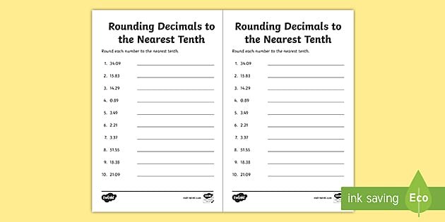 Rounding Decimals To The Nearest Tenth Activity