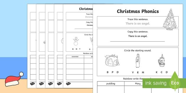 christmas phonics worksheet worksheet. Black Bedroom Furniture Sets. Home Design Ideas