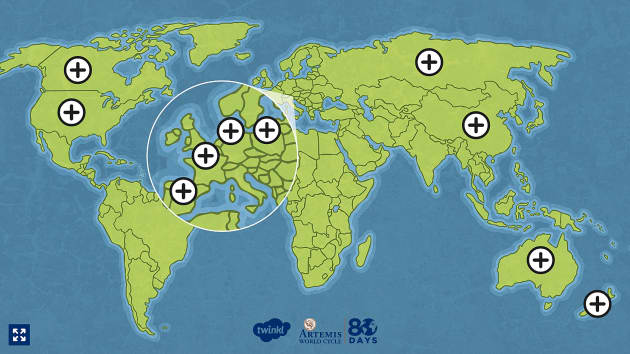 Around the World in 80 Days Route Map Hotspots