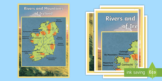 Map Of Ireland With Rivers.Counties Mountains And Rivers Of Ireland Large Display Poster Roi