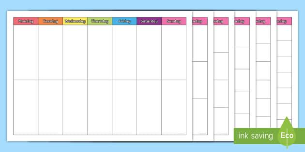 Free Full Week Timetables Week Timetable Time Table