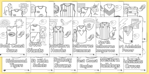 NEW * AFL Team Guernsey Colouring Pages - Colouring Page