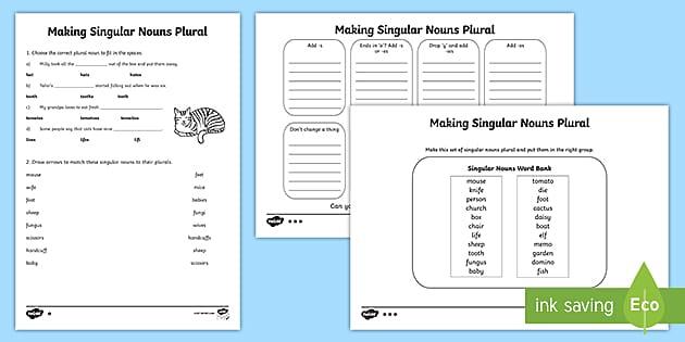 Singular And Plural Sentences Worksheets NZ Resource