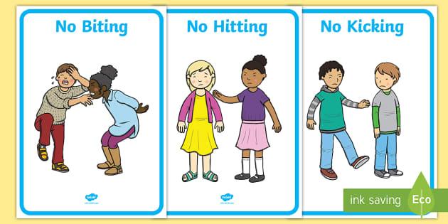 No Biting No Kicking No Hitting Display Posters - No ...