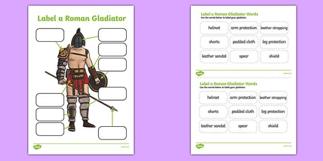 roman gladiator clothing labelling worksheet / worksheet- roman, gladiator