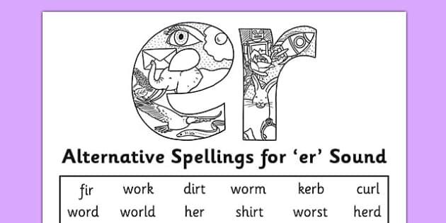alternative spelling for er sound worksheet activity sheet. Black Bedroom Furniture Sets. Home Design Ideas
