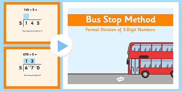 formal division 3 digit numbers bus stop method powerpoint. Black Bedroom Furniture Sets. Home Design Ideas